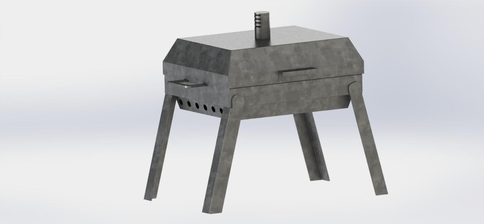 SolidWorks钣金模型:铁制烧烤炉