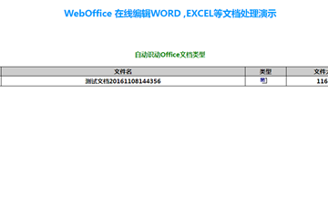 WebOffice示例:在线编辑WORD、EXCEL等文档