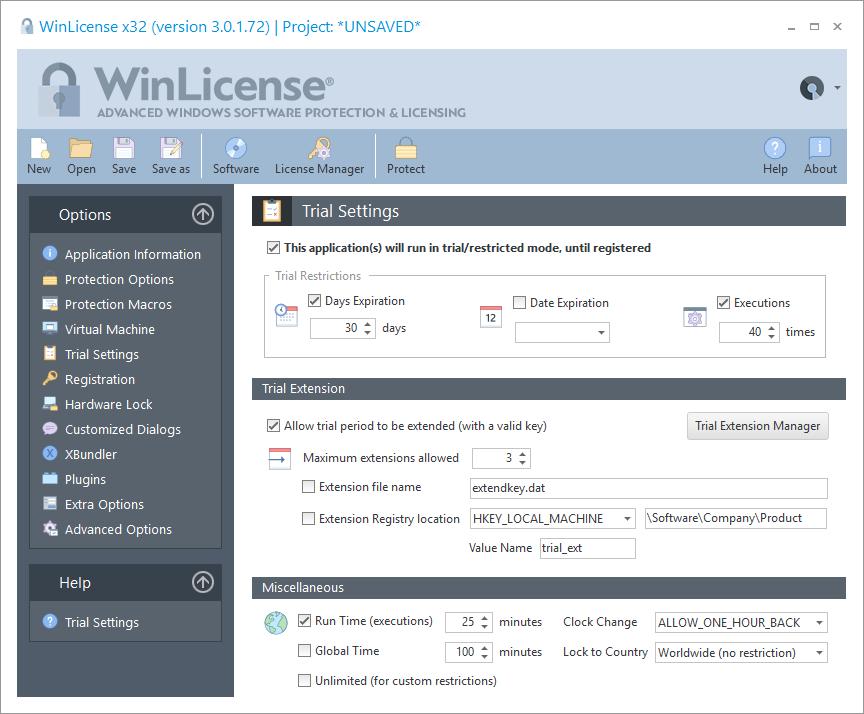 WinLicense预览:试用设置
