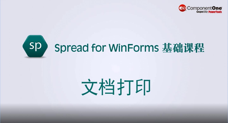 Spread for WinForm输入输出视频:文档打印
