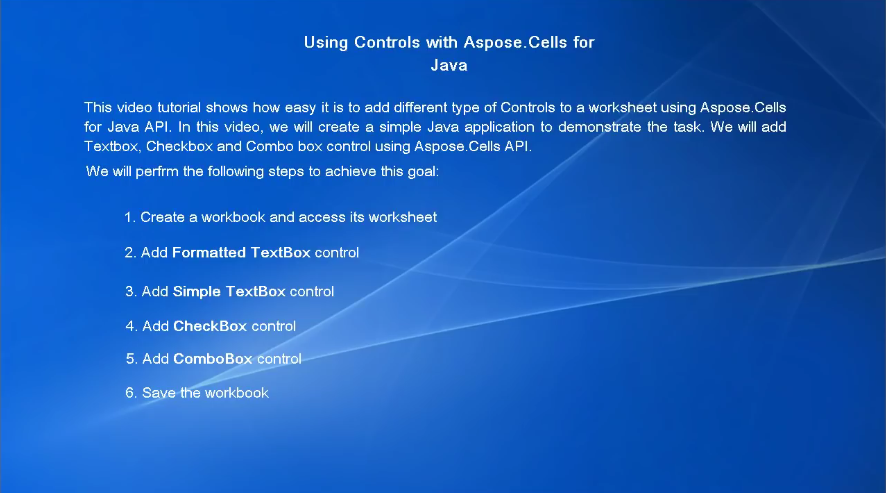 Aspose.Cells for Java视频教程:向工作表添加不同类型的控件