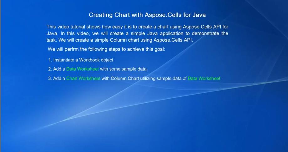 Aspose.Cells for Java视频教程:创建图表