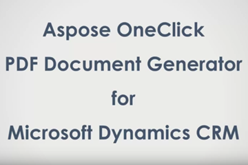 Aspose .NET OneClick PDF文档生成器