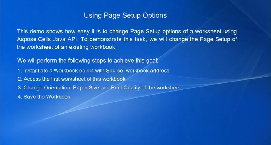 Aspose.Cells for Java视频教程:使用页面设置选项