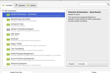 适用于Visual Studio for Mac的Syncfusion Xamarin项目模板