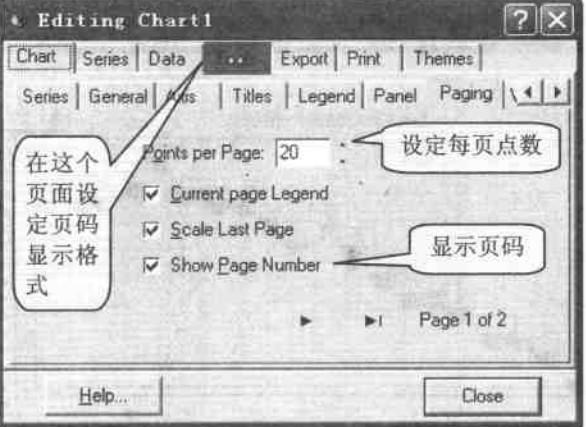 图表滚动时的页号与显示格式设定