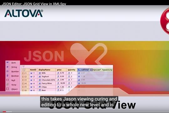 Altova XMLSpy 2020版:全新的JSON Grid Editor