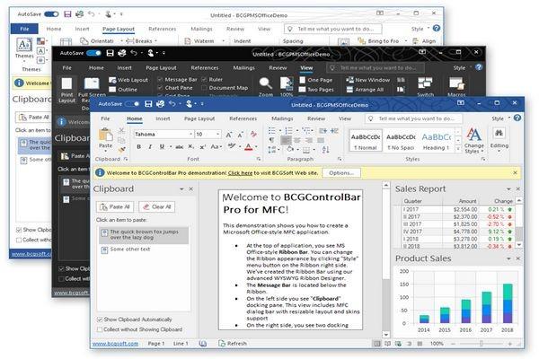 MFC界面库BCGControlBar v30.2新功能全解:新增Office 2019样式主题