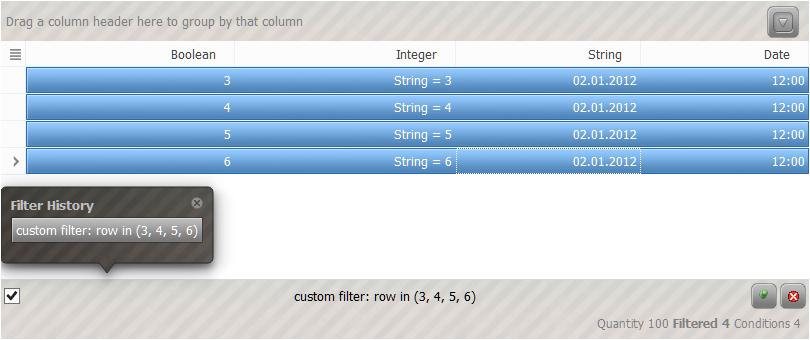 QtitanDataGrid在线示例:CustomFilter