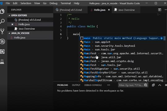 使用Visual Studio Code编写Java教程:编辑代码