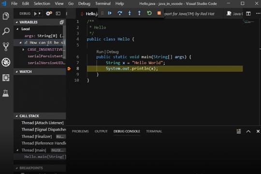 使用Visual Studio Code编写Java教程:运行和调试程序