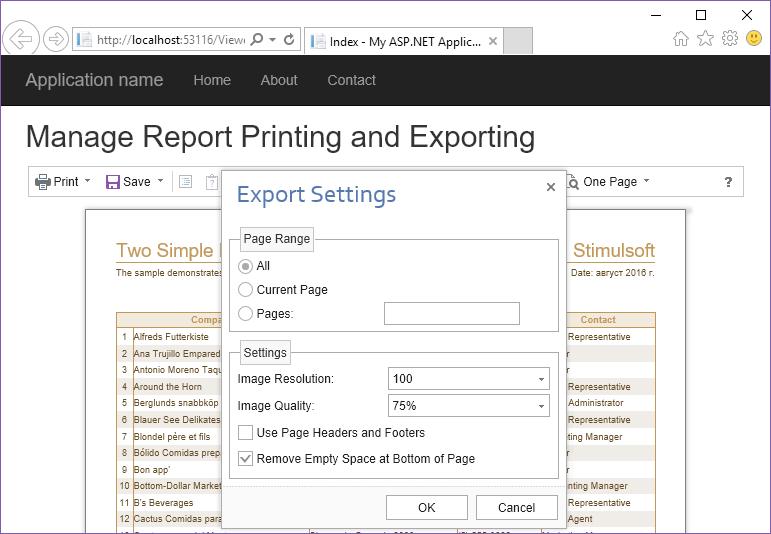 Stimulsoft ASP.NET MVC报表教程:管理报表打印和导出
