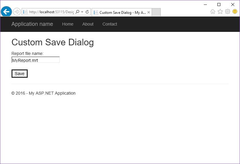 Stimulsoft ASP.NET MVC报表教程:在DESIGNERFX中使用自定义保存对话框