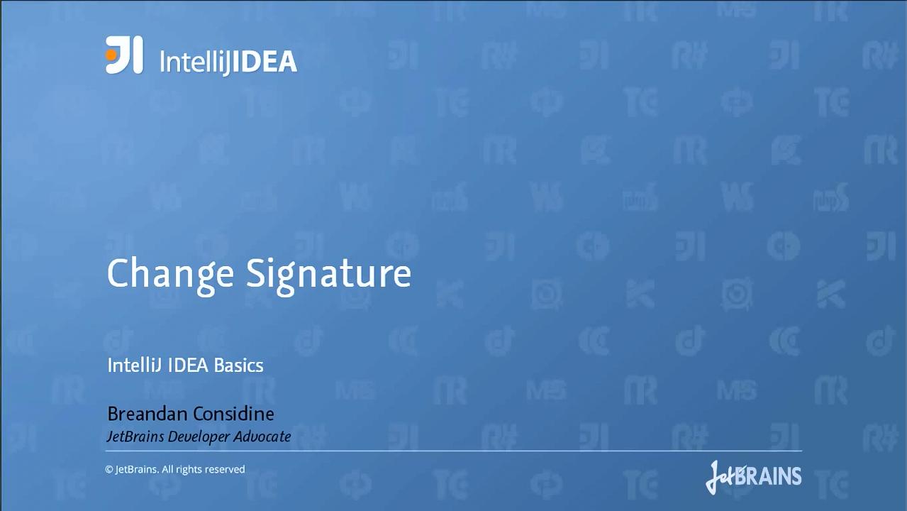 ntelliJ IDEA视频教程:更改签名