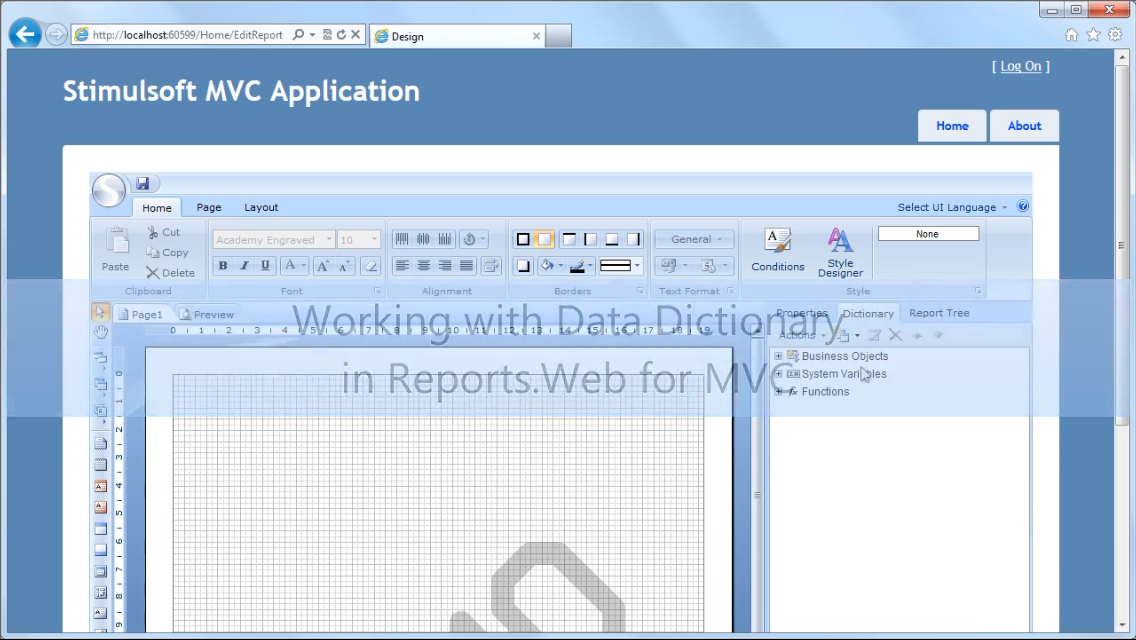 Stimulsoft报表工具:在Reports.Web for MVC中使用数据字典