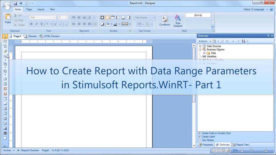 Stimulsoft报表工具:在WinRT中使用数据范围参数创建报表-第1部分