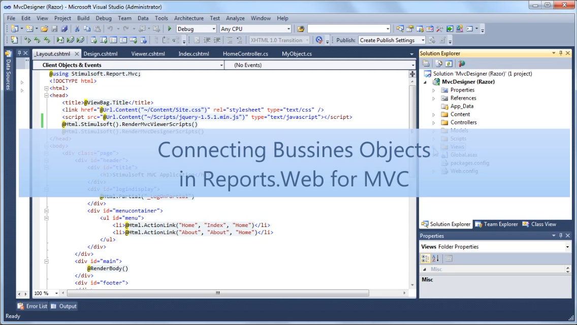 Stimulsoft报表工具:在Reports.Web for MVC中连接业务对象