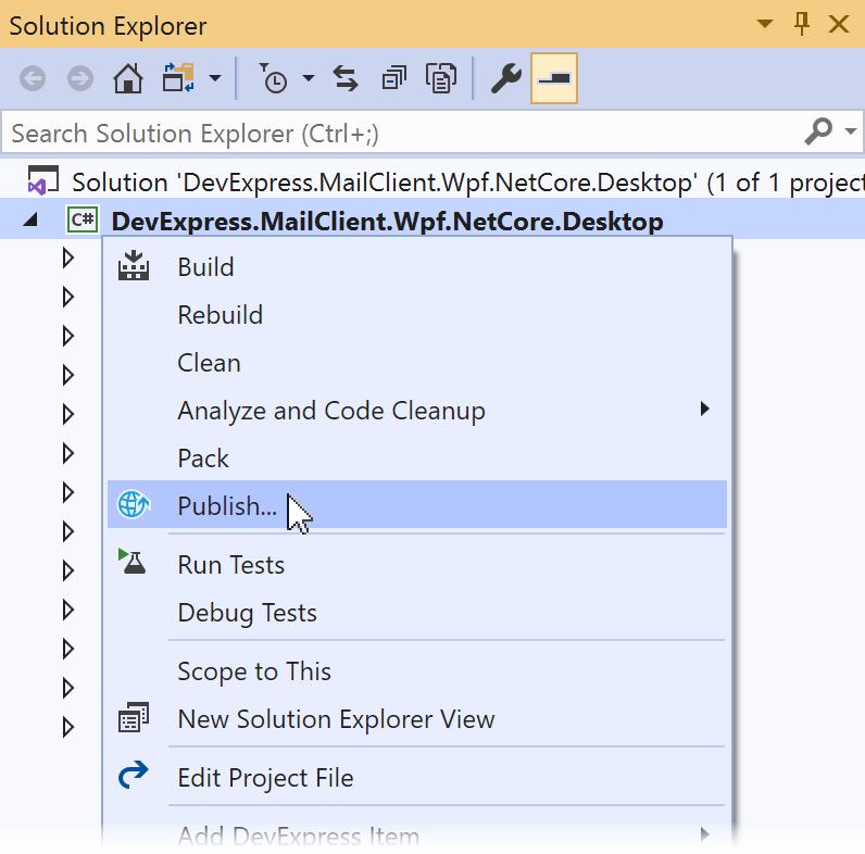 DevExpress WPF 使用教程:如何部署.NET Core WPF应用