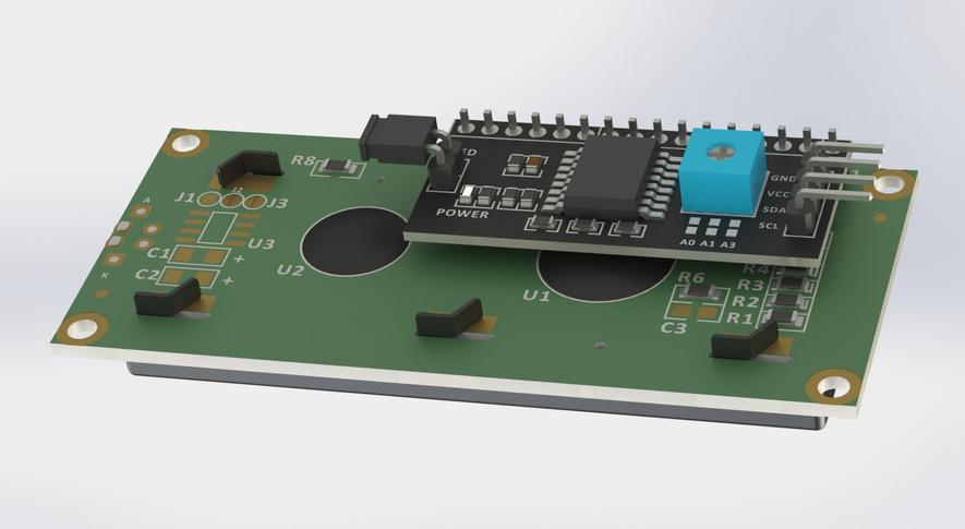 Solidworks模型: 1602 LCD显示模块