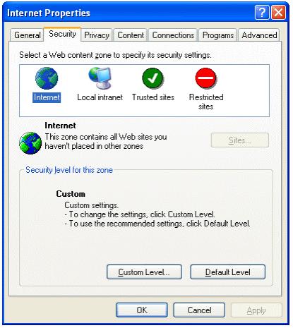 VARCHART XGantt用户手册:Internet Explorer中部署的安全准则