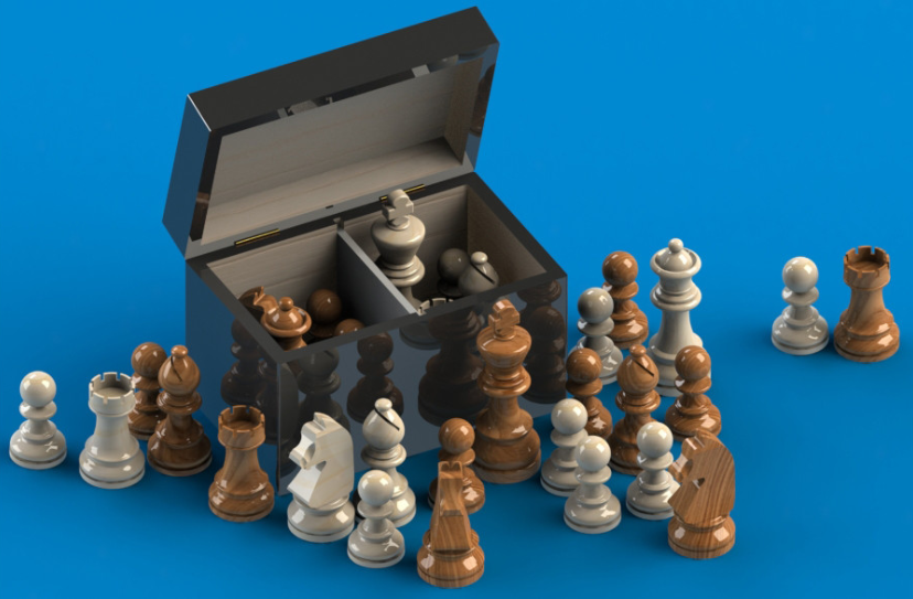 SolidWorks实体模型:国际象棋