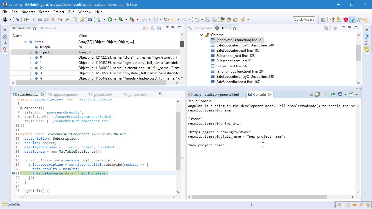 CodeMix预览:CodeMix调试