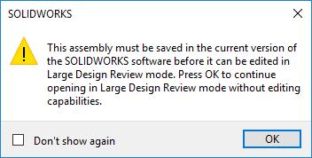 SOLIDWORKS 2019大型设计评论-保存在当前版本中