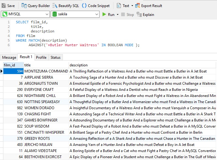 Navicat使用教程:在MySQL中执行全文搜索(第3部分)-布尔全文搜索