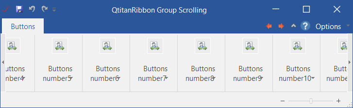 QtitanRibbon在线示例:GroupScrollingFeature