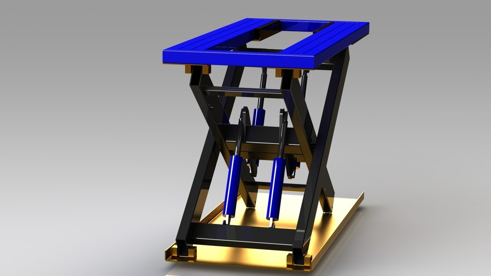 Solidworks模型: 剪叉式升降机