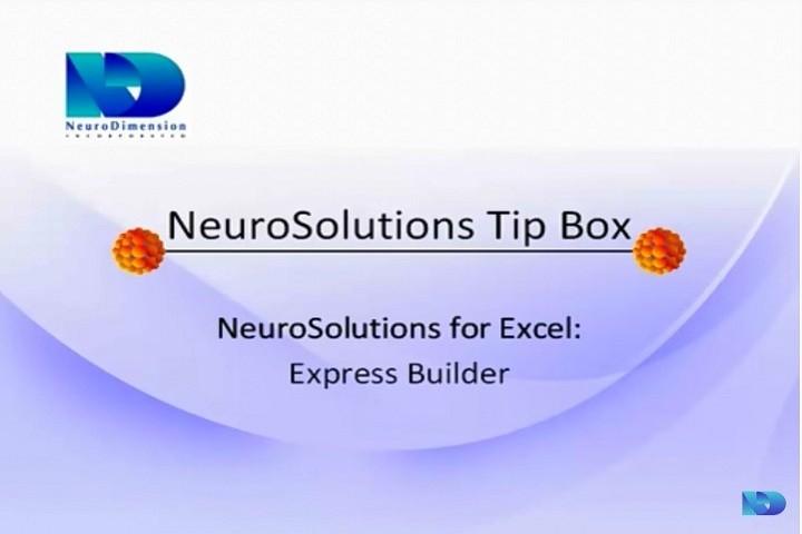 NeuroSolutions视频教程:NeuroSolutions for Excel-Express Builder第1部分