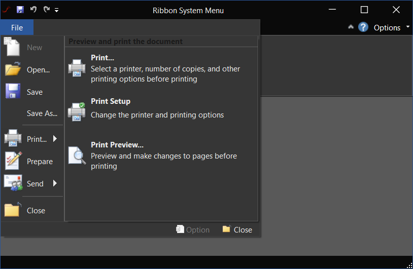 QtitanRibbon在线示例:SystemMenuDemo