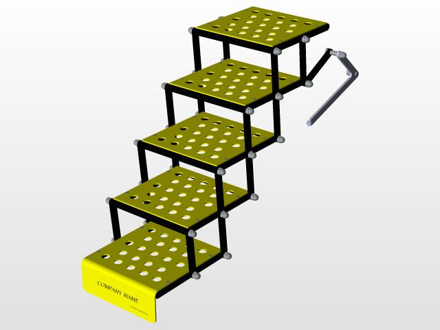 Solidworks模型: 折叠梯子