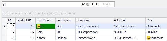 DevExpress WinForms示例:在网格中突出显示下一个或上一个搜索结果