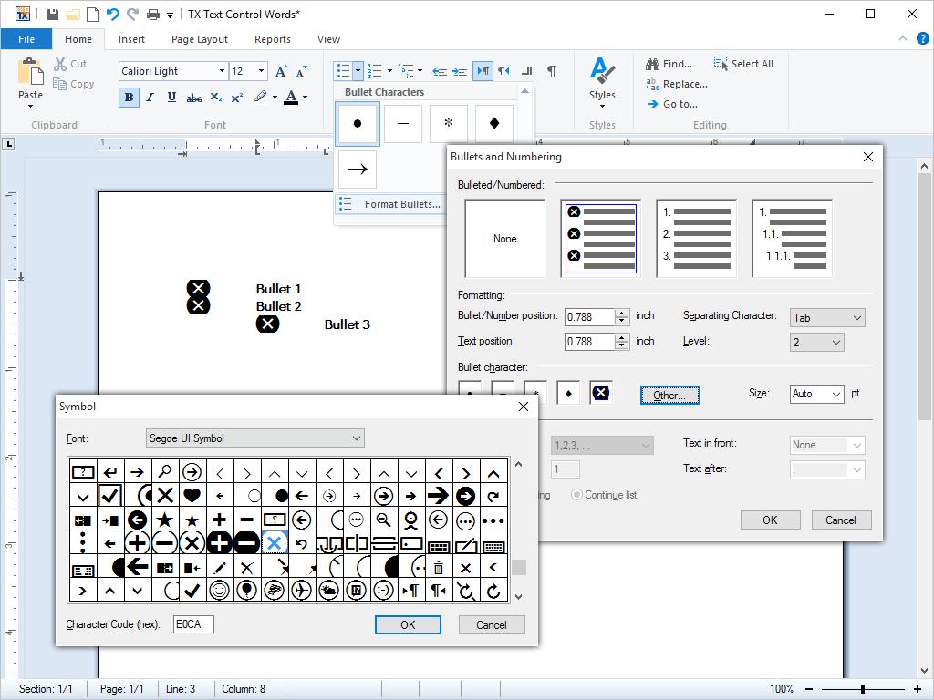 TX Text Control .NET for Windows Forms预览:项目符号和编号列表