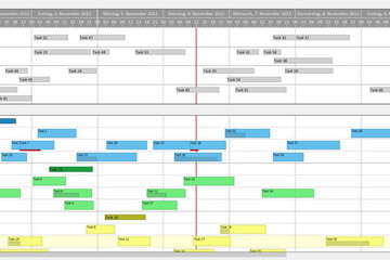 VARCHART XGantt预览:2 Gantt charts: drag & drop from upper in lower chart.