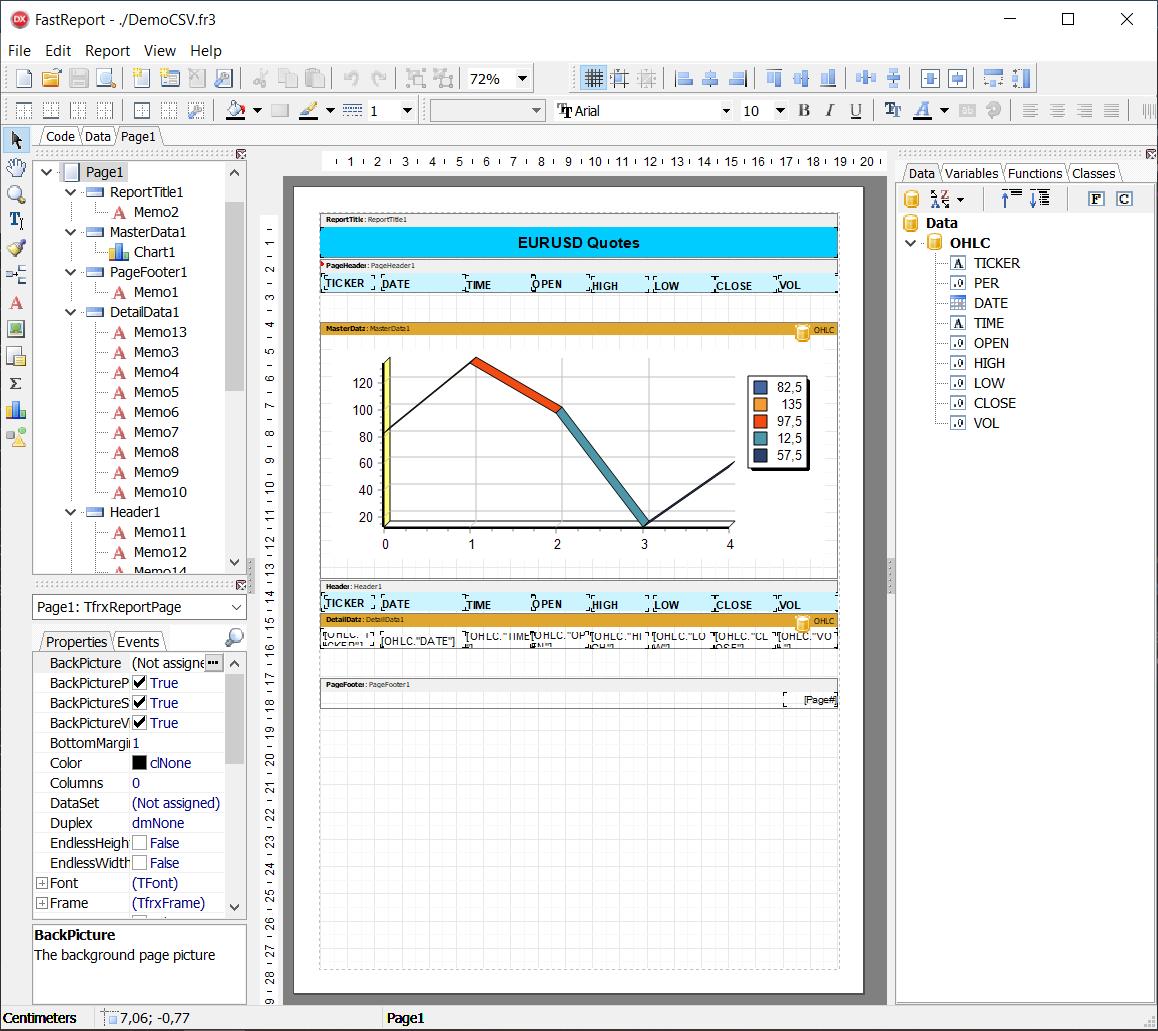 如何在Delphi中将CSV文件作为数据集连接并使用FastReport VCL建立报告
