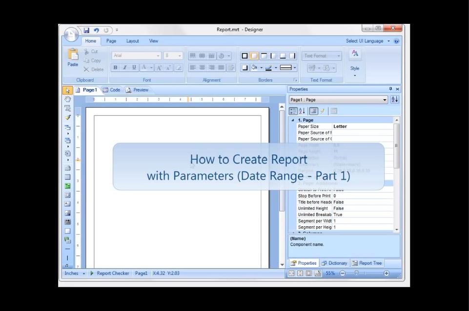 Stimulsoft Reports.Net视频教程:使用参数(日期范围)创建报告-第1部分
