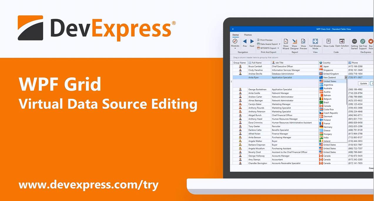 [官方视频]DevExpress WPF v20.1视频:Data Grid - 虚拟数据源编辑