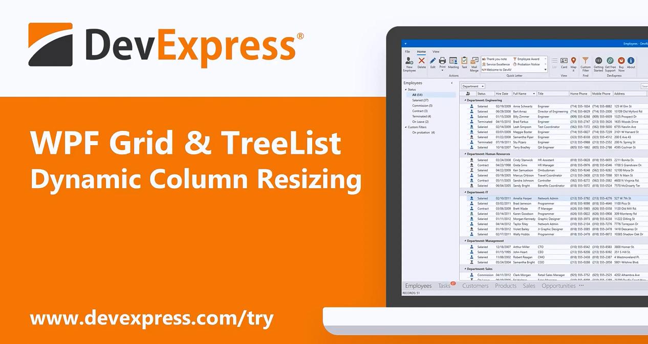 [官方视频]DevExpress WPF v20.1视频:Grid和TreeList - 动态列的大小调整