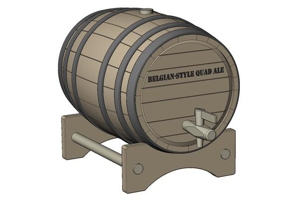 【模型】用SolidWorks设计的木质啤酒桶模型免费下载
