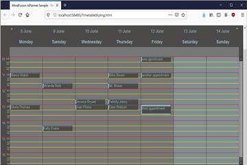 MindFusion.Diagramming for WinForms使用教程:在JavaScript Scheduler中设置时间表视图的样式