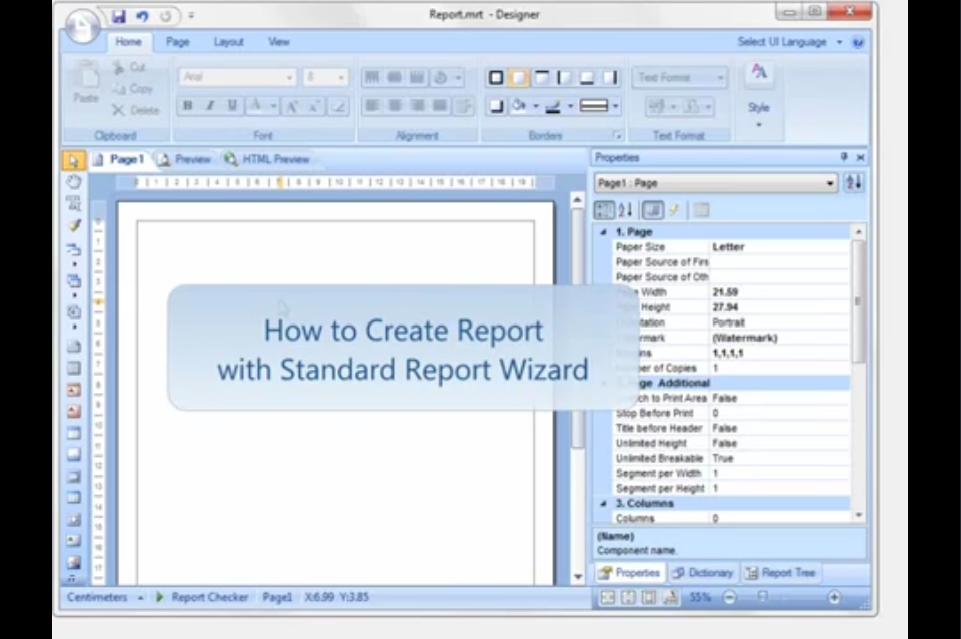 Stimulsoft Reports.Net视频教程: 使用标准报告向导创建报表