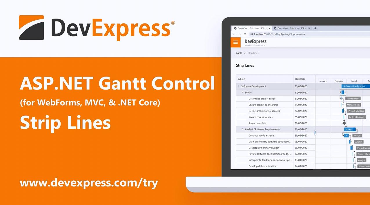[官方视频]DevExpress ASP.NET 甘特图控件v20.1:支持带状线