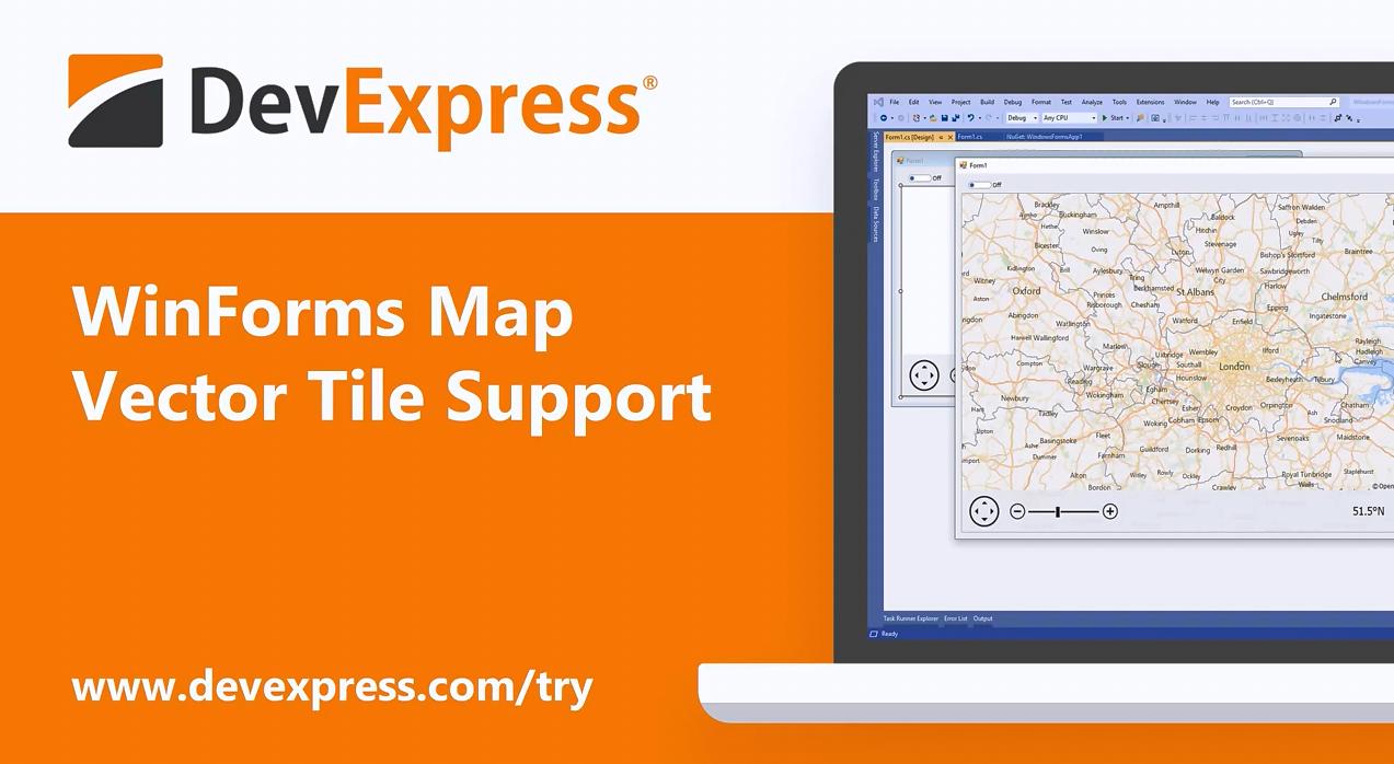 【官方视频】DevExpress Winforms v20.1:Map Control - 支持矢量平铺