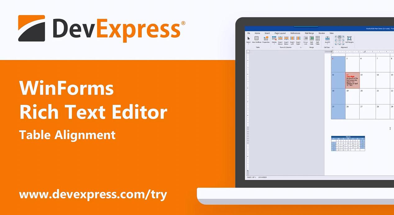 DevExpress Winforms v20.1功能:富文本编辑器 - 表格管理