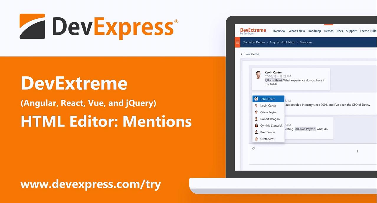 [官方视频]DevExtreme v20.1视频:HTML编辑器 - Mentions