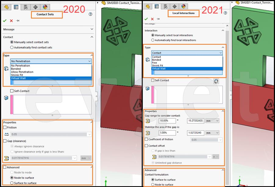 SOLIDWORKS 2021新增功能-Simulation交互名称的更改