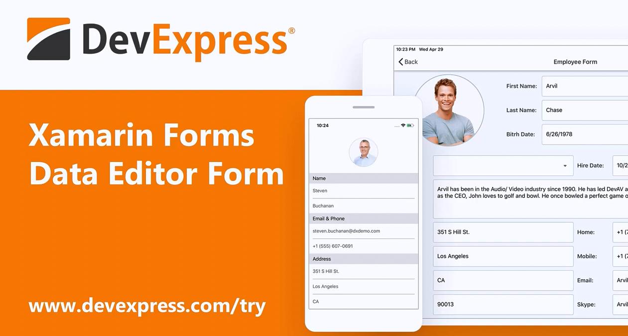 [官方视频]DevExpress v20.1:Xamarin Forms - 数据表单组件