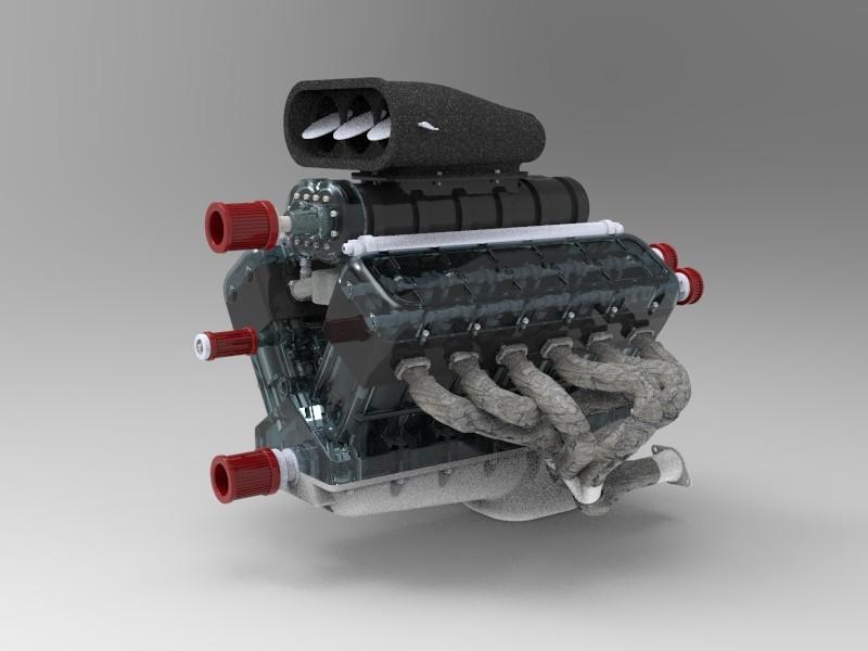 SolidWorks模型免费下载:V12引擎